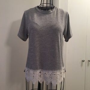 Grey T-Shirt with Lace, size Small